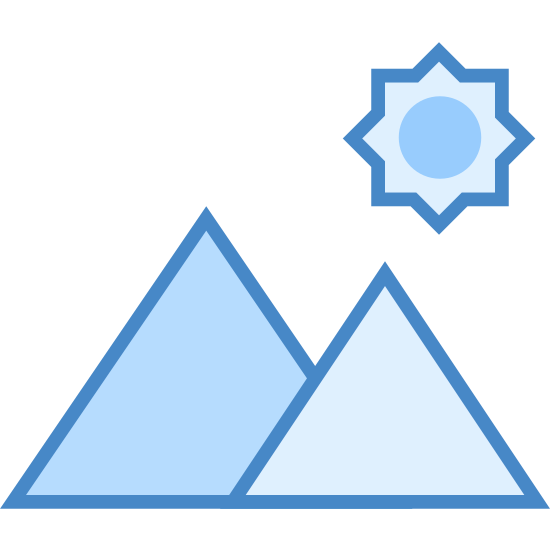 Landscape icon. The icon shows two triangles. One is partially smaller and slightly smaller because it is a bit hidden behind the larger one on the left. At the top of the smaller triangle is a 8 pointed star shape with a circle at it's center.
