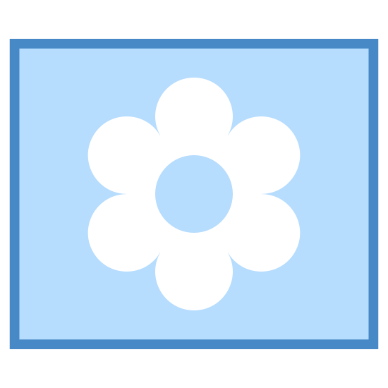 Duże ikony icon. The Large Icon has a flower like shape with five rounded point.  In the center there is another 5 points drawn in somewhat lines from the center.  The flower shape is enclosed in a square or a box.