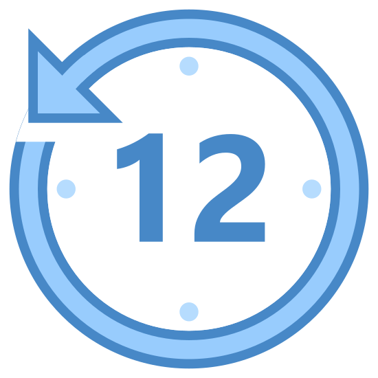 "Ostatnie 12 godzin icon. It's the image of a clock face with the number ""12"" written in the center. Around the clock face are the dots where the numbers of a clock would go. The circle that encloses the clock face is actually a circular arrow drawn around the clock. The arrow is pointing counter clockwise to indicate time going backwards twelve hours."