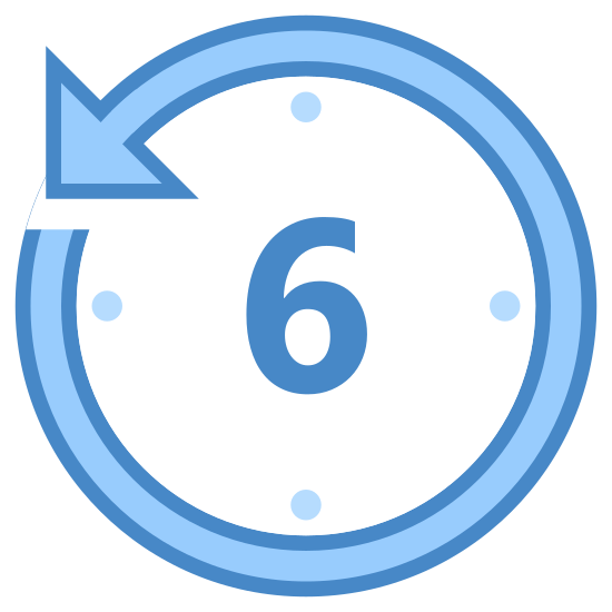 Last 6 Hours icon. A circle with dots inside the circle. The dots are on the inside circumference of the circle. The dots are all around the inside of the circle. There is an arrow pointed left in the top right of the circle. There is the number six in the center of the circle.