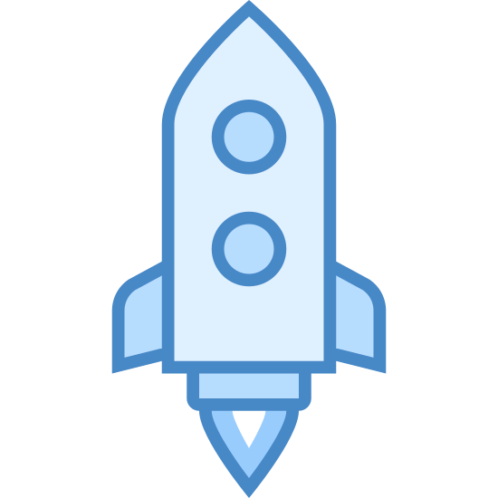 Launch icon. This is a picture of a rocket that is launching straight upwards. you can see a flame coming out of the bottom of the rocket, as well as a small circular window at the top center of it. it has two small wings on it's side