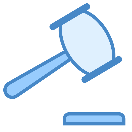 Law icon. The icon is a simple line drawing of a gavel facing right with the head facing up. It is made to look like it is ready to strike strike the sound block.