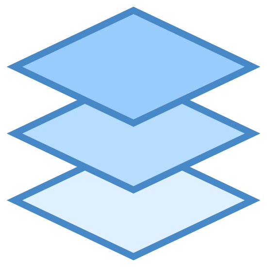 Layers icon. There are 3 small squares. 2 of the three square appear to be floating above the bottom first square. The last square at the top layer is covered with dots. The bottom 2 layers beneath it have no dots or designs.