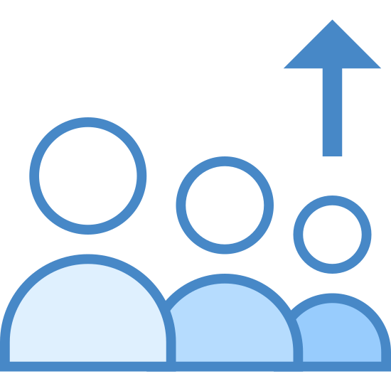 Leaving Queue icon. This is an image of three heads overlapping one another.  The heads are pointed in a three dimensional diagonal direction.  Above the left most head is an arrow that is pointed upwards.