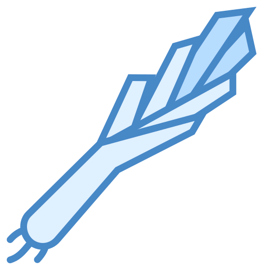 Por icon. The icon is a simplified depiction of a leek, a large fibrous vegetable related to the onion and of similar flavor. The stalk starts to the south-west and extends to the northeast, splitting off into several smaller sub-component stalks along the way.