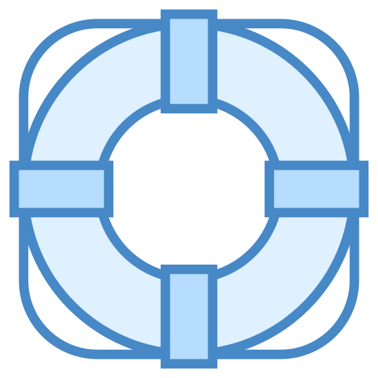 Bouée de sauvetage icon. The Icon for Lifebuoy is a round circular ring. There are four rectangular pieces on top of the ring, evenly spaced at the top and bottom and left and right. The ring is on top of an object with rounded corners that make half circles between each rectangular piece.
