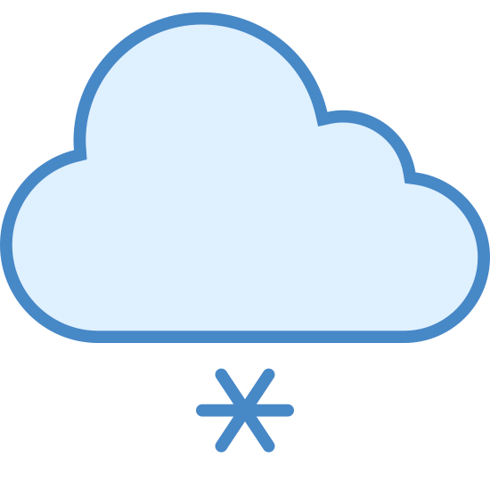 Lekkie opady śniegu icon. This is a image of a cloud shaped figure with three circular puffs on top, and a flat base below.  Below the cloud are three plus shaped figures representing snow.