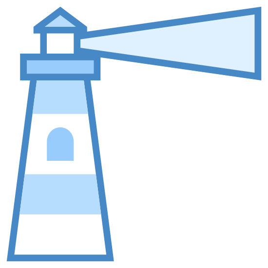 Lighthouse icon. This icon for a lighthouse has a rectangular base with lines on it, the top is narrower than the base. On the top of the rectangle is a window shape, with a triangle forming the roof of the lighthouse. There are four diagonal lines coming out of the window shape, two on each side pointing in opposite directions.