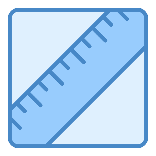 Lipídos icon. This icon is depicting a ruler tilted diagonally and towards the right enclosed within a rectangle with rounded edges. The ruler is depicted as two parallel lines with seven lines segmenting it to indicate units of measurement.