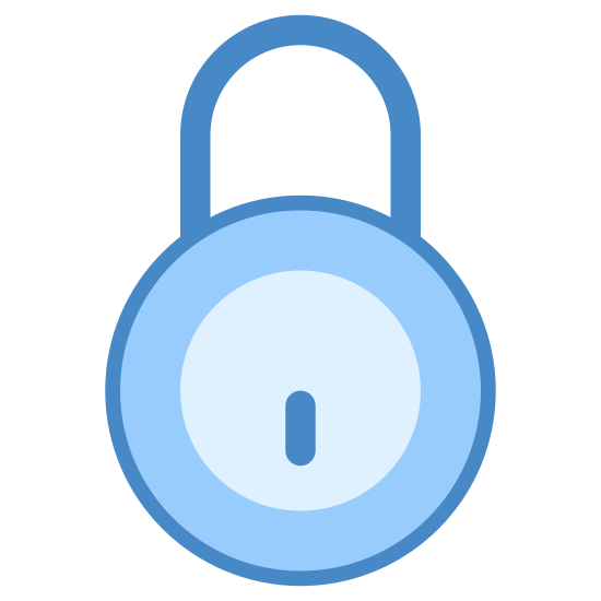 Zamek 2 icon. The image is the basic rounded outline of a padlock.  The padlock has a U-shaped part sticking out the top where you would loop it through the thing your are locking.  Currently it is in the locked position.  In the middle of the main, round, body of the lock is a keyhole where the pins of the key would go in pointing down.