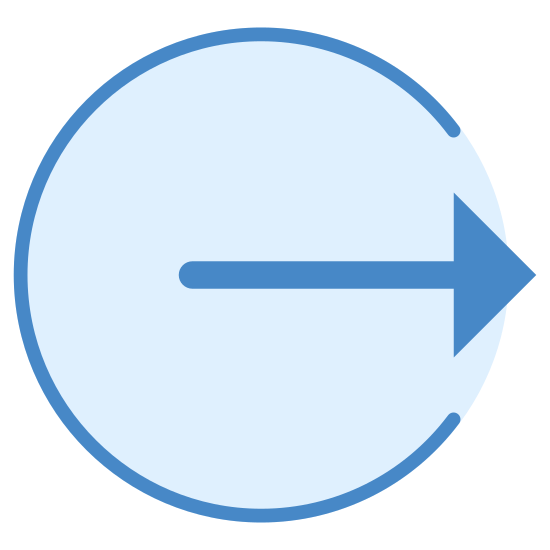 Sign Out icon. This icon is a very line line drawn in a circle with a small portion left blank on the right hand side. Inside of this empty portion is an arrow that is pointing towards the right. It starts in the center of the circle and ends right at its edge.