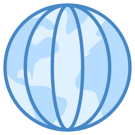 Longitude icon. The image is of a globe with lines on it. There are five lines on the inside of the globe but they are not straight lines. The only straight line is the one down the center. The other lines curve with the outside of the circle. All of the lines are vertical.