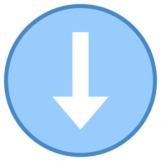 Low Importance icon. It is an icon is of an arrow pointed in a downward motion. The arrow is placed in a simple circle and the arrow has a short tail allowing it to fit directly in the center.