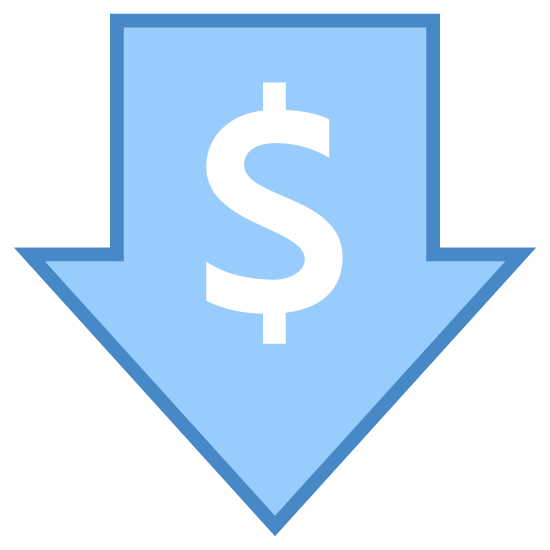 Niedriger Preis icon. Its a logo with a dollar sign right in the in the center of it.  Around the dollar sign is an arrow that is pointed in the downward direction.  Essentially, its a logo of a down arrow with a dollar sign in the middle.