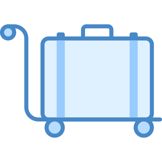 """Wózek na bagaż icon. This icon is a suitcase, sitting  a top a trolley cart. The suitcase is shaped like a rectangle, with a small handle on top. The trolley cart is shaped like the letter """"L"""" and there are two small wheels on either  side of the bottom of the trolley cart."""