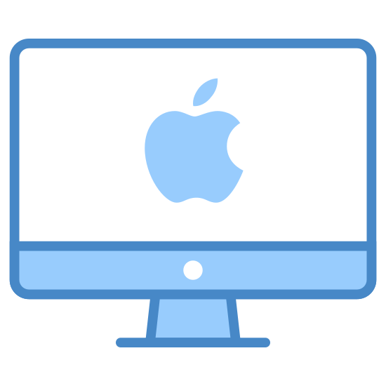 Klient Mac icon. The mac client icon consists of a computer monitor and in the center of the computer monitor there is an apple that looks as if someone has taken a bite off of it. Since the company Apple runs mac, they placed a bitten apple to represent their company.