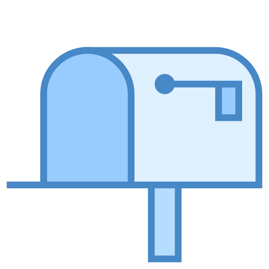 Post Box icon. This is a picture of a mailbox that is open in the front. it's flag is down, and it's on a pole. there is no mail in the mailbox. there is also no handle on it's front door.