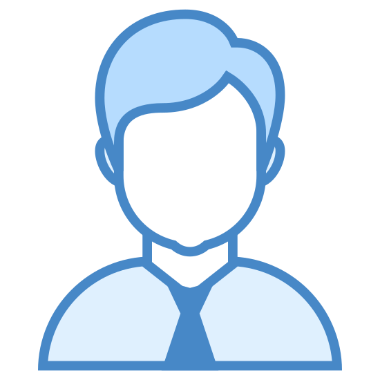 Manager icon. This is a picture of a silhouette of a man's upper chest and head. He appears to have a little hair, although you can't see the hairline. He has a necktie on and it's not certain as to whether he's smiling or not, as his face doesn't show any of the features.