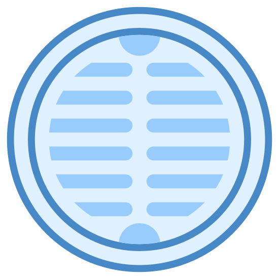Sewer icon. This icon is depicting a manhole or sewer cover. The object is round in shape with two rows of vertical lines inscribed in the center as if to indicate this is an open grate.