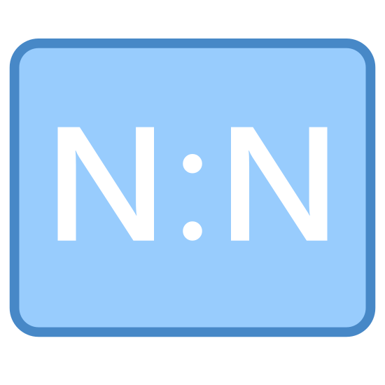 Many To Many icon. The icon consists of a rectangle with rounded corners, longer than it is tall. Inside the rectangle are two side-by-side capitalized Ns, with a colon symbol centered in between them.