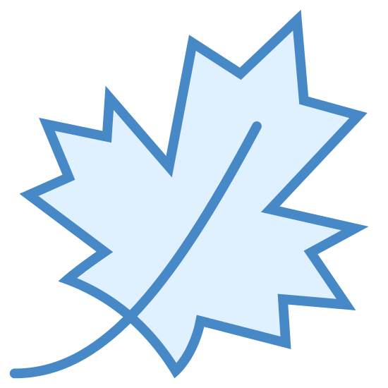 Maple Leaf icon. The maple leaf, a sure sign of Canadians. A typical leaf with a blocky cross shape, and jagged edges on each of the points of the cross. Two smaller points lead downward below the cross shape.