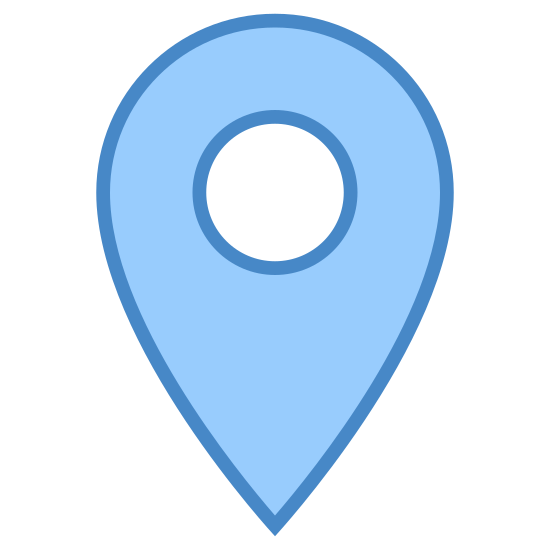 マーカー icon. The icon is described as a marker and is an arrow shape pointing downward with a round base, which could also be described as a pin. This icon would normally see as marking a position on a digital map.