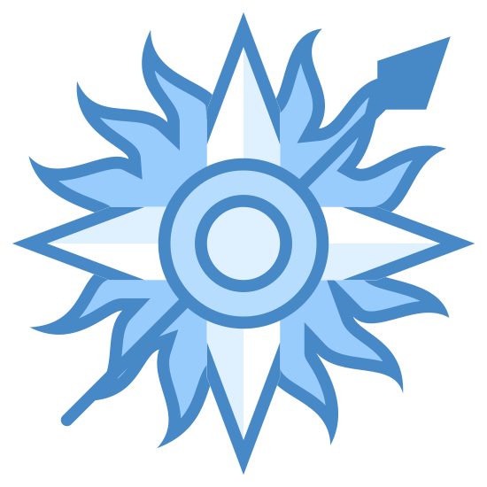 Martell House icon. The icon consists of a circle with many points along the circumference and a long line with a diamond point at one end. The line starts at the bottom left of the circle and pierces through the circle at an off-center location.