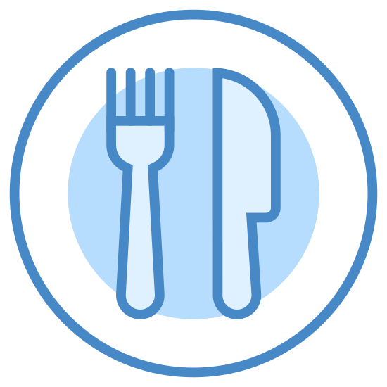 Refeição icon. There is a single dish with only one fork and one knife on it. There isn't much detail to the fork or knife, just three prongs on the fork and a simple butter knife.