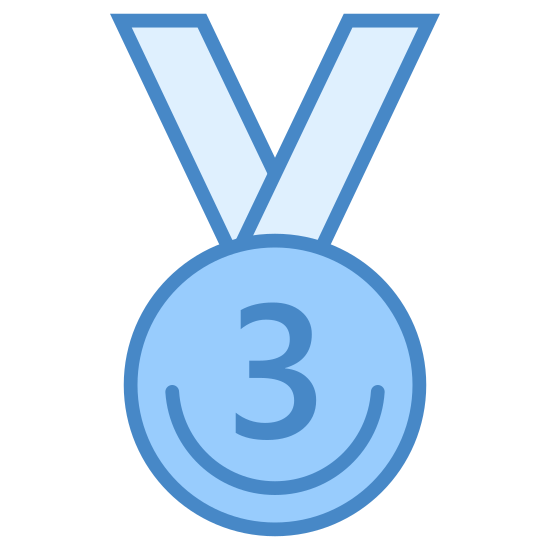 Medal za Trzecie miejsce icon. This is a image of a medal.  The medal composed of a circle with small ridges around it and has the number three in the center of it.  On top of the circle is the cut-off necklace part of the medal.