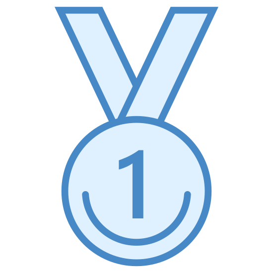 Medal za pierwsze miejsce icon. Two diagonal groups of lines, both thick in the middle then thin detail on the outside, converge into a v-shape and where they meet there is a circle with dotted hash marks surrounding the inside border. Inside of the hash marks is a large number 1.