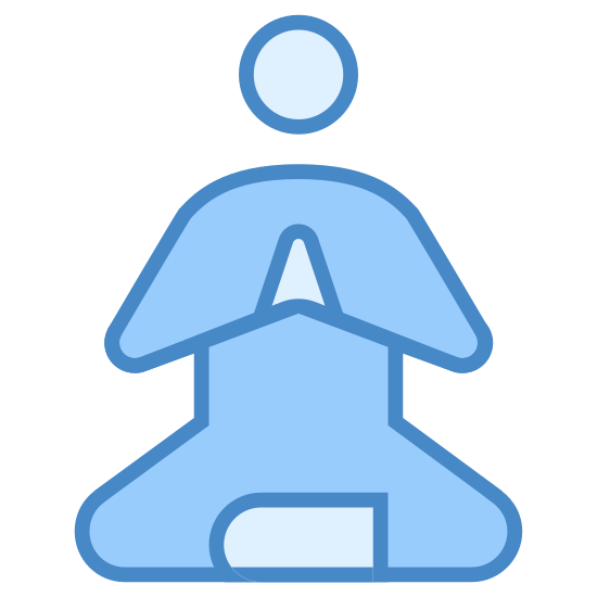 Guru medytacji icon. This is a picture of a person that looks to be meditating. This person is sitting indian style and holding their hands in a praying position looking straight ahead.