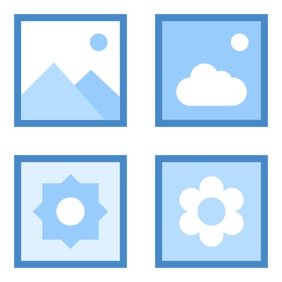 Medium Icons icon. There is a square divided into four smaller squares inside. In the top left square is a zig zag line with a dot above. In the top right square is an icon of a sun. In the bottom left corner is a rounded leaf. In the bottom right corner is a cloud shape with a dot above.