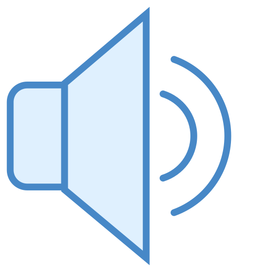 Średnia głośność icon. The main part of the logo is made of two connected shapes. On the left is a triangle with slightly rounded corners, and connected to it is a triangle facing left but cut in half so that the two shapes together look like a speaker facing to the right. Two semi circular lines are coming out of the speaker and represent sound waves.
