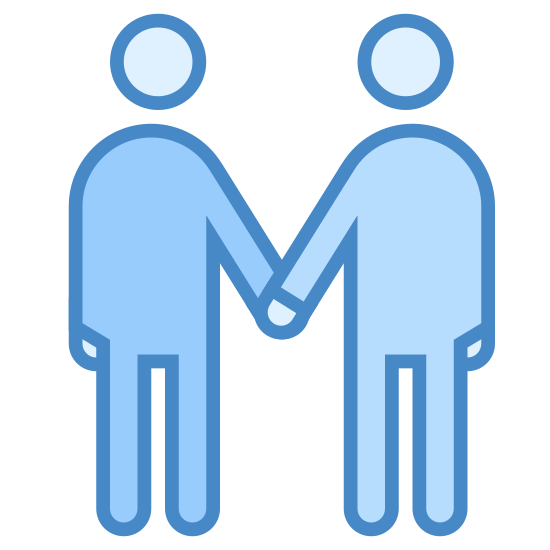 Meeting icon. It's a logo for depicting a meeting between two people. There are two cartoon people shaking hands. Their heads are circles that are slightly hovering over their bodies.