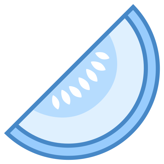 Melon icon. This is a slice of a melon fruit. It has a hard shell on the outer slice and then in the middle is the flesh of the melon. The very middle part of the slide has a bunch of the melon's seeds in it.