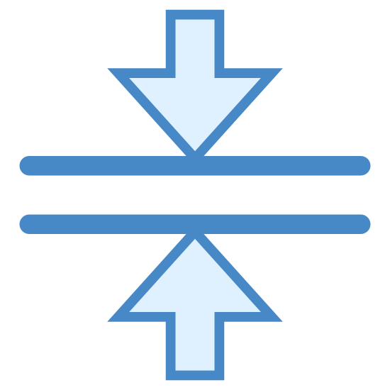 Merge Horizontal icon. This logo has what looks like a street or a sidewalk in the middle of it with 2 lateral lines.  On the top of it there is an arrow pointing down and on the button there is an arrow pointing up and the arrows are perfectly lined up.