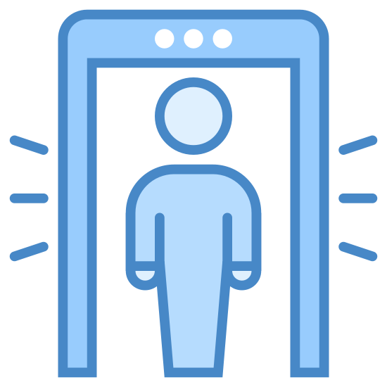 Wykrywacz metali icon. This looks like a person standing inside of a rectangle. There is an even smaller rectangle on top of the rectangle, with 3 dots on it. There are three lines on each side of the big rectangle.