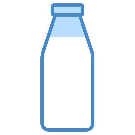 Butelka mleka icon. This icon looks just like an old style glass milk bottle. The base is made of a rectangle with rounded corners that tapers to a narrow neck. On top of the neck are two circles meant to represent the mouth of the bottle.
