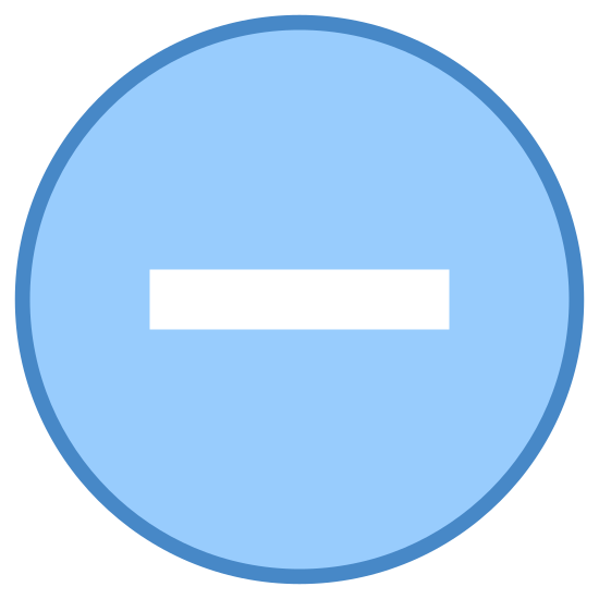 minus icon. It is a circle with a horizontal line directly in the middle of the circle. The horizontal line stops slightly before reaching the edge of the circle so no part of the line actually touches the circle itself.