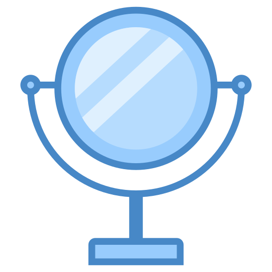 Espejo icon. This icon is depicting a bathroom mirror on a stand. The base of the object is flat with two arms extending halfway over the main feature which is completely circular and symmetrical.