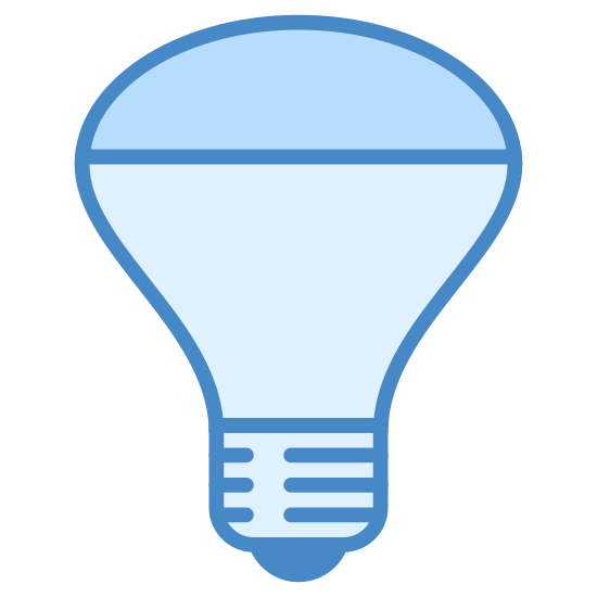 Mirrored Reflector Bulb icon. It's the image of a modern looking light bulb.  The bulb is shaped like a cone, with a domed lens covering the top of the cone.  It looks like a high powered light bulb meant to direct a beam of light.