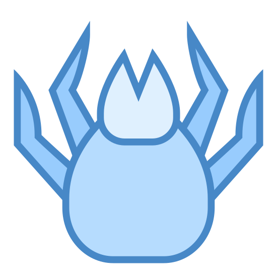 Mite icon. The logo for Mite is an image of an insect-like animal. The top of the logo has a beak-like shape that is connected to a hexagon shaped body. There are also 4 legs in total sticking on the outside of the body.