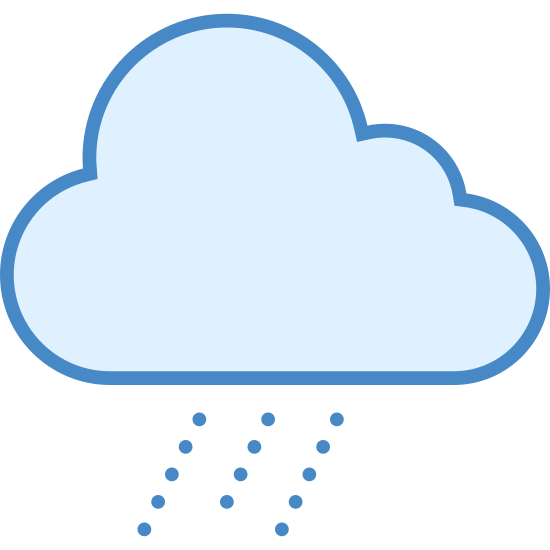 Moderate Rain icon. This icon is showing weather that is moderate rain. It has a picture of a cloud with three humps, and then under the cloud it shows three dashed lines falling from the cloud denoting a good amount of rain.