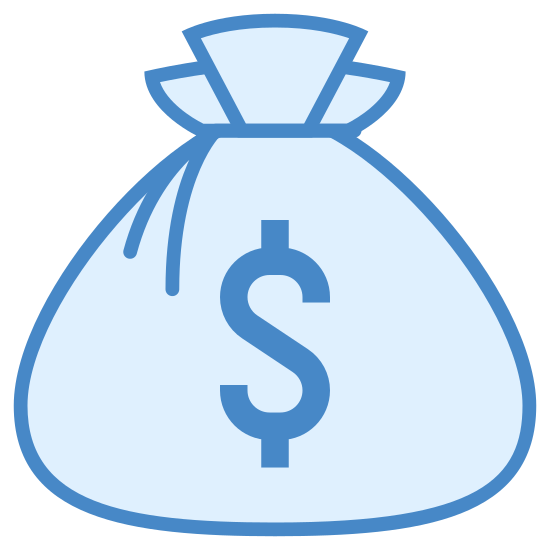 Money Bag icon. The icon is a money bag, calling to mind a burlap sack, tied together at the top with a thin string, with a dollar sign on the side of it. It is flat on the bottom, as if sitting on a surface.