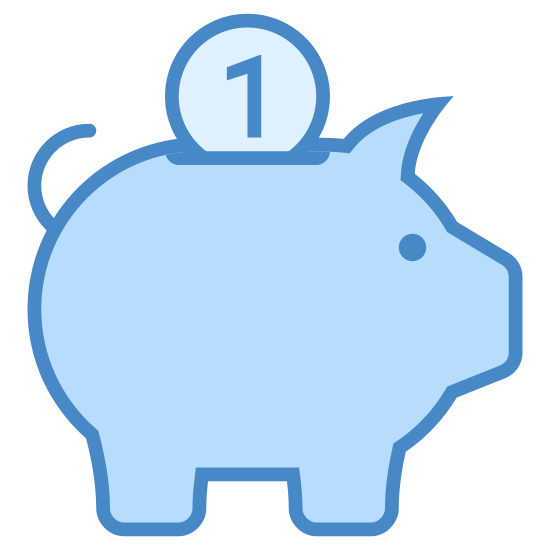 Caja de dinero icon. The money box, a euphemism for piggy bank. A cute little pig, probably full of children's change, viewed from the side. The only remarkable thing about it is the handle for weight on the pig's back.
