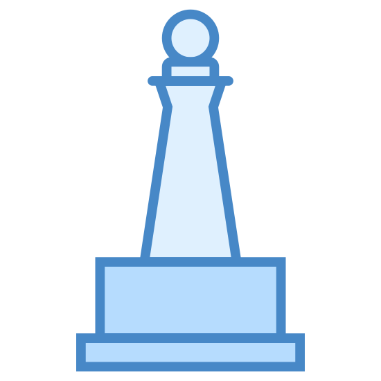 Monumento icon. This icon represents a monument. It is a building with 4 levels and a round top. It precedes to get smaller from the bottom to the top ended with what looks like a ball on top.