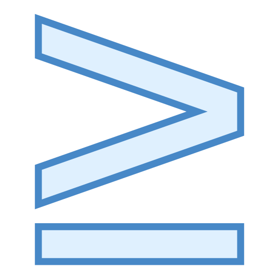 """More or Equal icon. It's a math sign for """"greater than or equal to""""; This object has carrot symbol (think Pac-Man mouth) pointing to the right and an underscore-type line underneath of the carrot."""