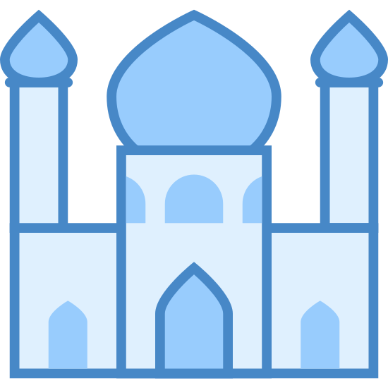 Meczet icon. This logo is of a mosque and has two towers surrounding a dome-shaped building in the center. The towers have two little circles near the top and there is an open doorway in the center building.
