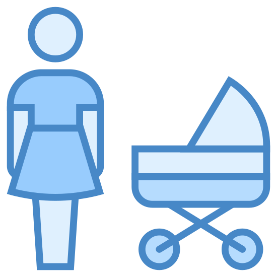 Mother icon. The icon shows a mother standing next to her baby in a stroller. The mother is wearing a blouse, and the stroller is round. The stroller has a hood at the top that can be lowered to block the sun.