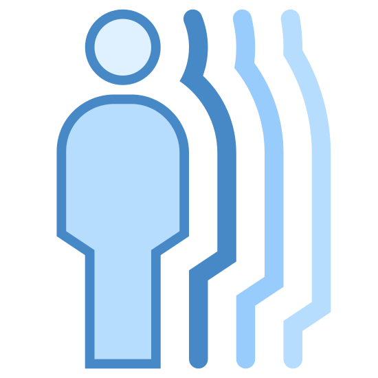 Bewegungsmelder icon. It's an image depicting a Motion Detector. The image shows a man and shadows of the man next to a small motion detection device.